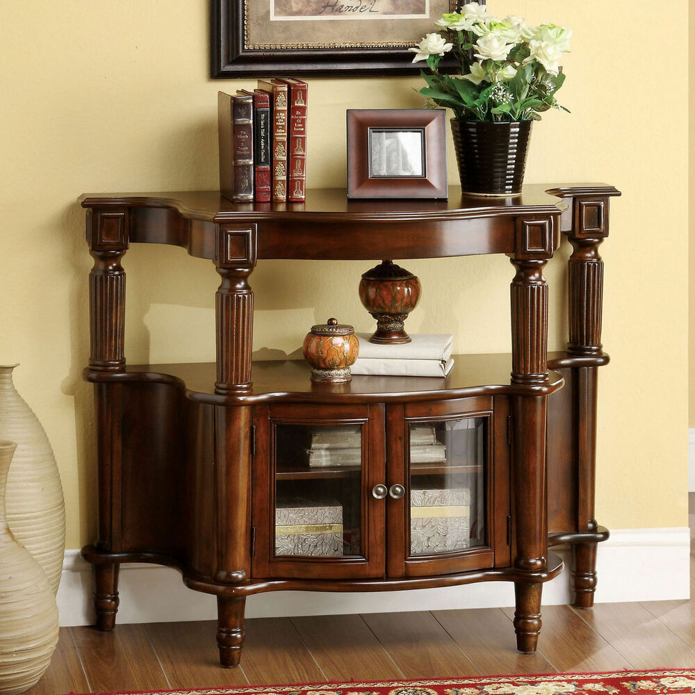 Home Foyer Table : Furniture of america georgia classic antique walnut