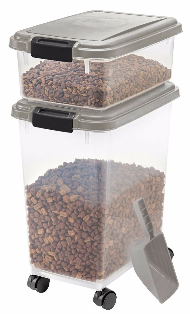 pet food container dog cat feed scoop dry bin storage air tight rolling wheel ebay. Black Bedroom Furniture Sets. Home Design Ideas