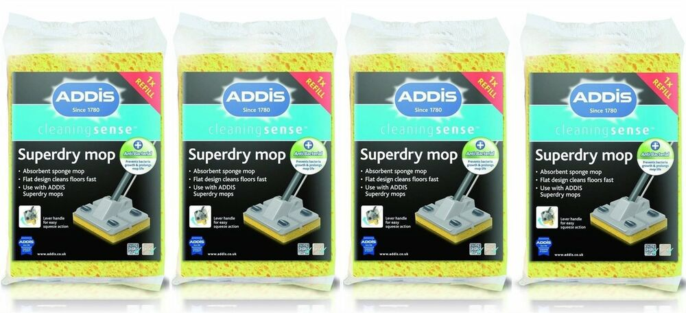 4 x addis superdry mop refill anti bacterial cleaning. Black Bedroom Furniture Sets. Home Design Ideas