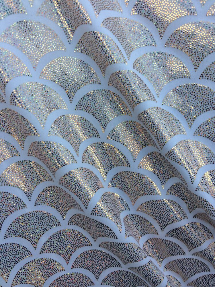 White spandex lycra mermaid small fish scale hologram for Fish scale fabric