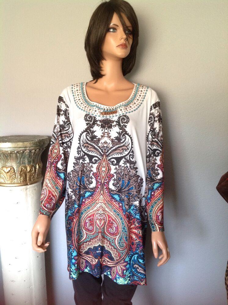 Tunic Women Xxl Victoria Harbour Beaded Designer Fashion Hip Chic Paisley Boho Ebay