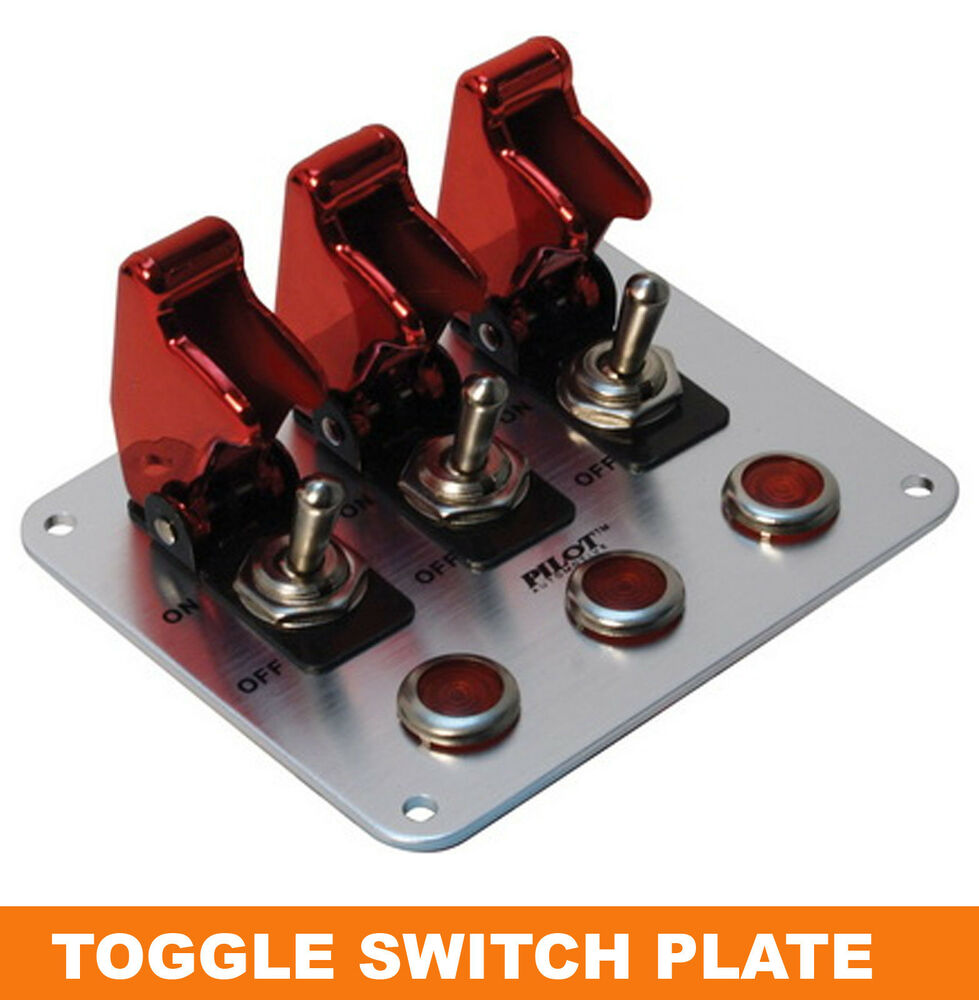 red anodized safety cover aircraft 12v 3 toggle switch