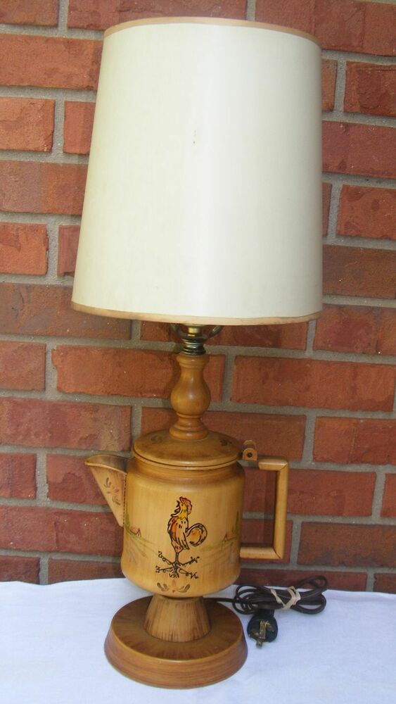 vintage rooster tin pitcher table lamp with shade ebay. Black Bedroom Furniture Sets. Home Design Ideas