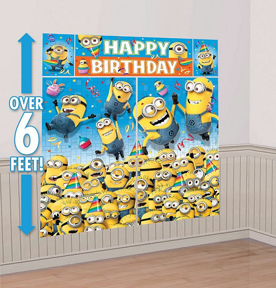 despicable me minion scene setters happy birthday wall. Black Bedroom Furniture Sets. Home Design Ideas