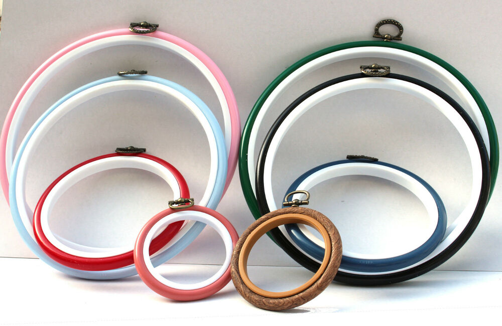 One round flexi embroidery hoop choice of colours and