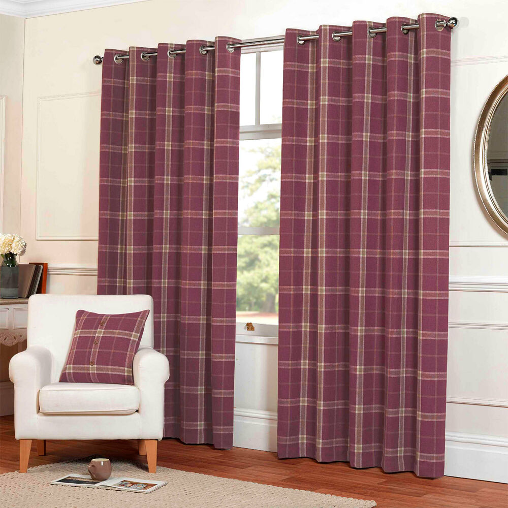 Highland Tartan Plaid Check Curtains with Ring Top Eyelets in ...