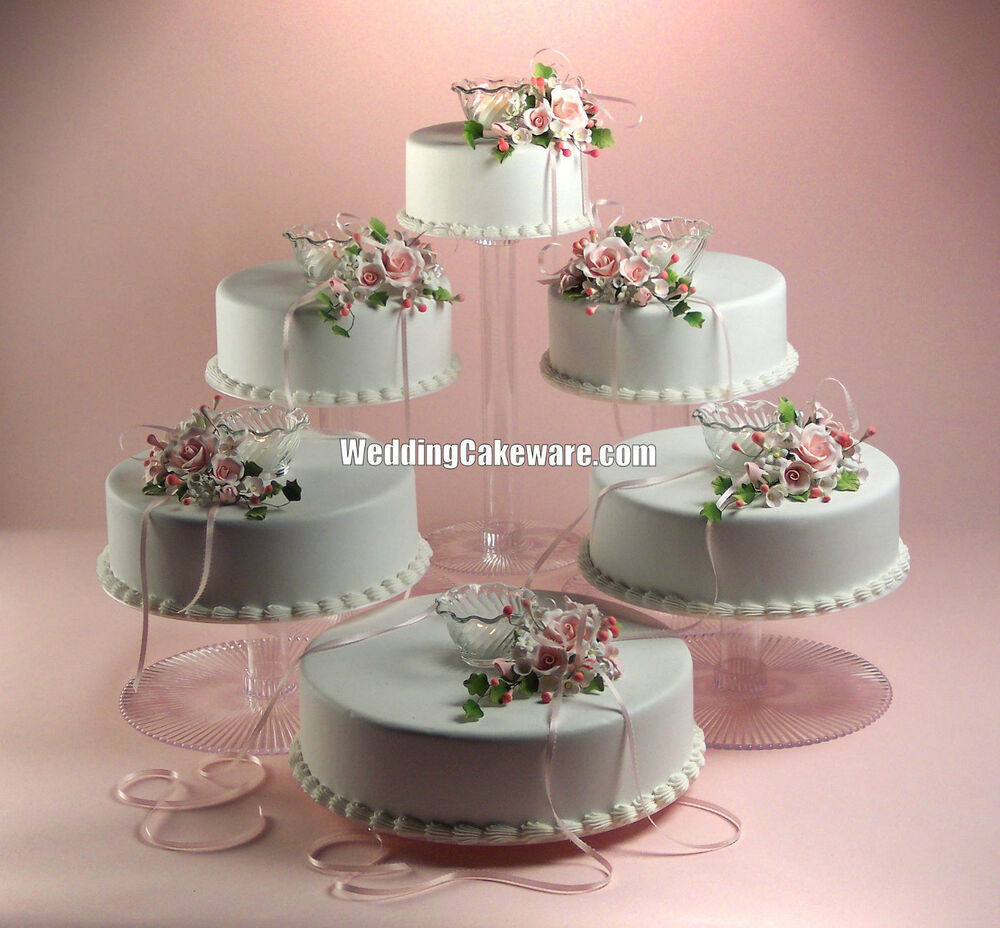5 tier cascade wedding cake stand stands set 6 tier cascading wedding cake stand stands set ebay 10453
