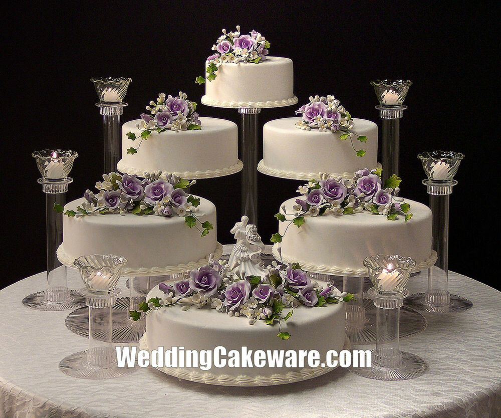 6 tier cascading wedding cake stand stands 6 tier candle stand set ebay. Black Bedroom Furniture Sets. Home Design Ideas