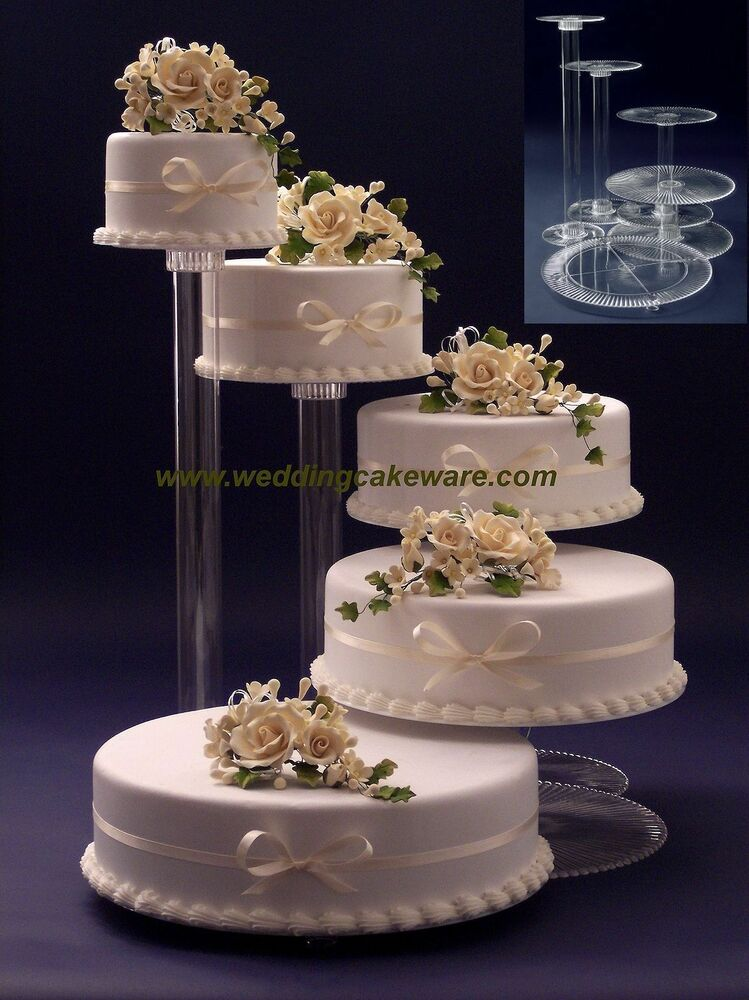 5 tier wedding cake with cascading flowers 5 tier cascading wedding cake stand stands set ebay 10476