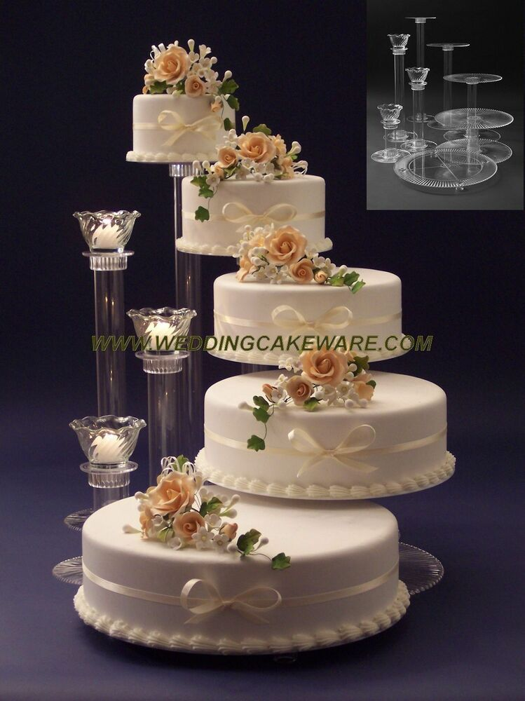 5 tier cascading wedding cake stand stands 3 tier candle stand ebay. Black Bedroom Furniture Sets. Home Design Ideas