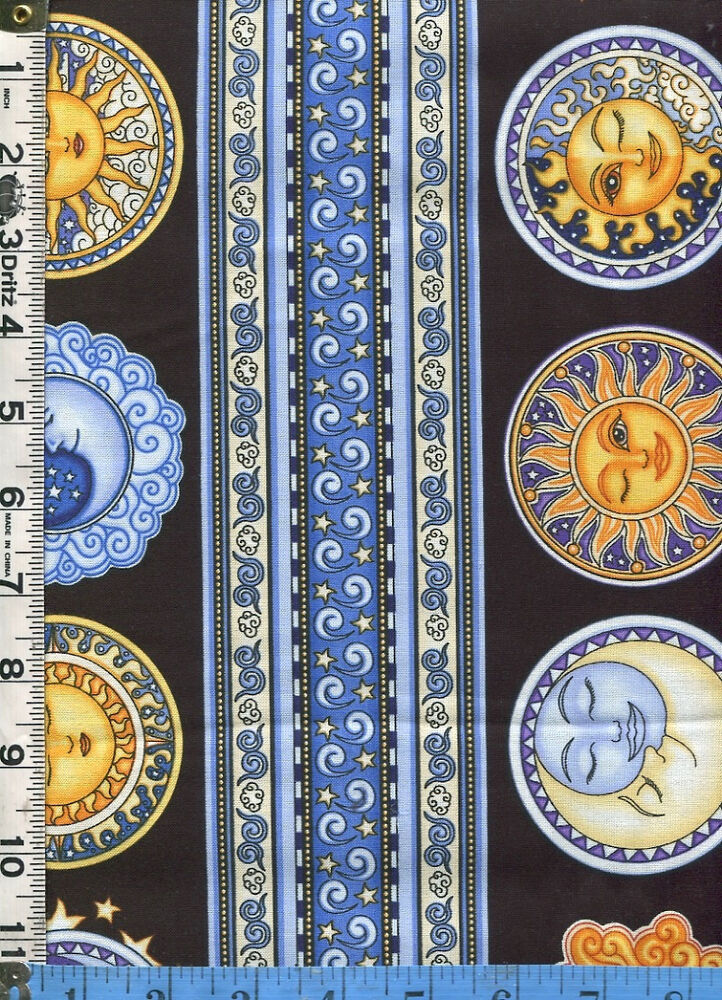 Fabric rjr sew heavenly celestial suns moons faces stripe for Sun moon fabric