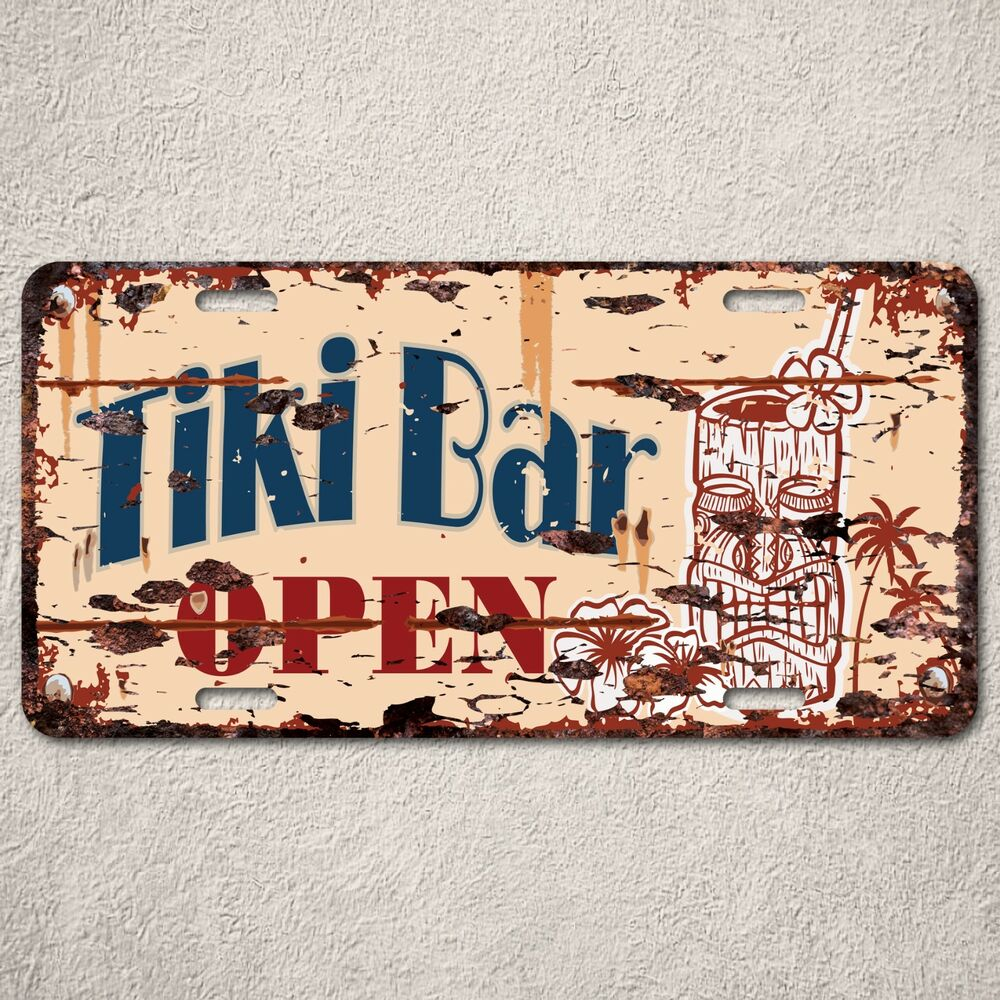 Lp0101 tiki bar open sign auto license plate rust vintage for Ebay decorations home