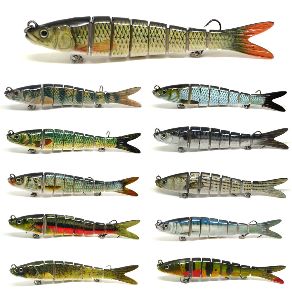 5 5 multi jointed bass pike fishing hard lure swimbait for Fishing lures ebay