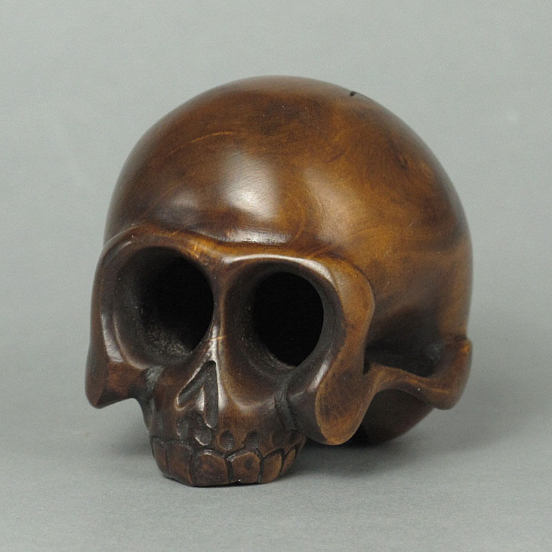 Boxwood wood netsuke skull figurine carving wn ebay