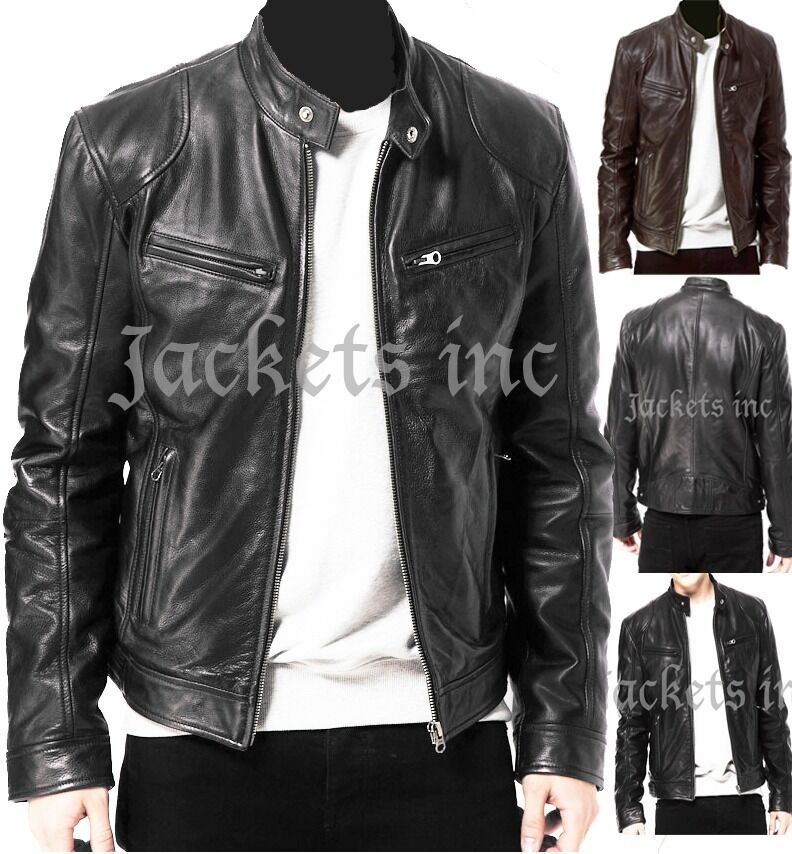 MENS BLACK & BROWN REAL LEATHER JACKET VINTAGE SLIM FIT RETRO ...