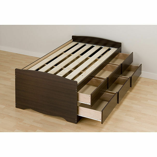 Espresso tall twin 6 drawer captain 39 s platform storage bed for Twin bed base with storage
