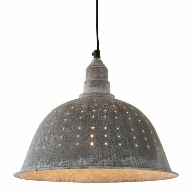 Country colander pendant lamp primitive smokey black Pendant lighting for kitchen