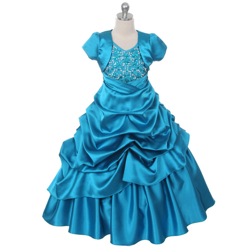 Teal Wedding Gown: Teal Girl Dresses Pageant Princess Wedding Birthday Party