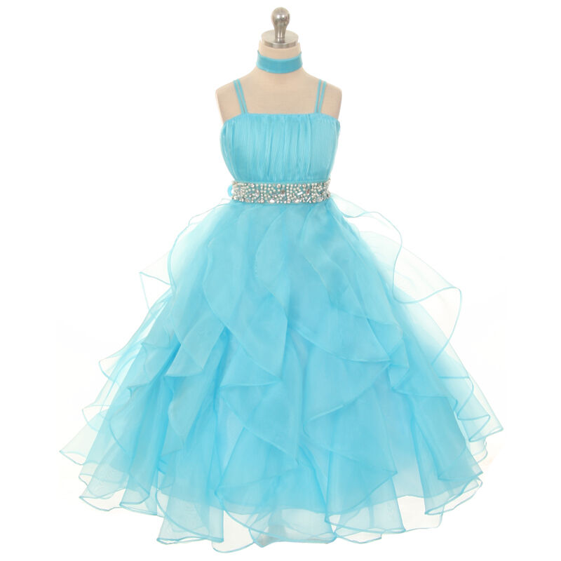 Birthday Dresses For Girls: Aqua Girl Dresses Pageant Princess Wedding Birthday Party