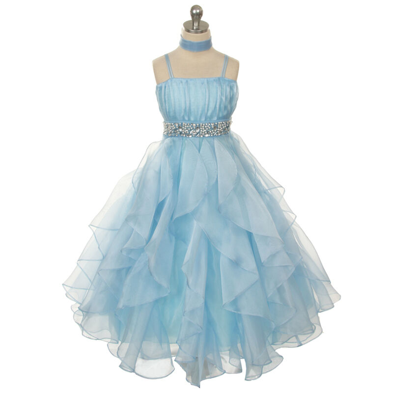Blue girl dresses pageant princess wedding birthday party for Wedding dress pick up style
