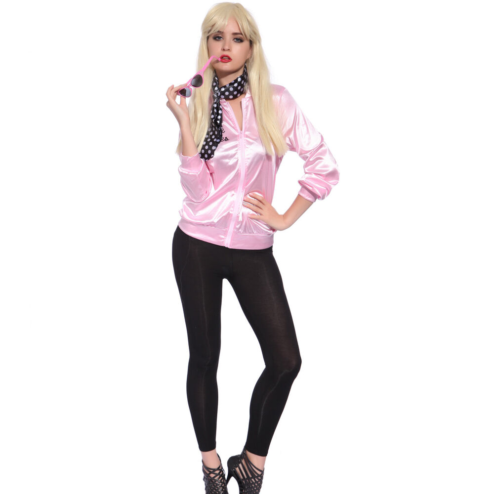 Retro 1950s Grease Pink Ladies Lady Jacket Costume Hen