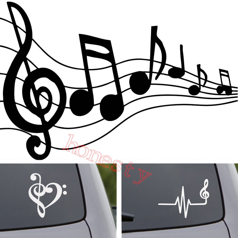 Details about music pattern sticker car window songs piano guitar wall laptop vinyl decal