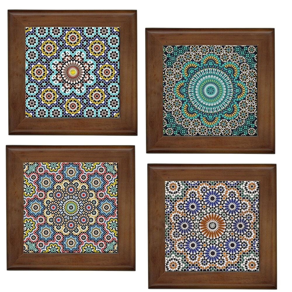 Moroccan Patterns Home Decorative Ceramic Framed Tile Wall