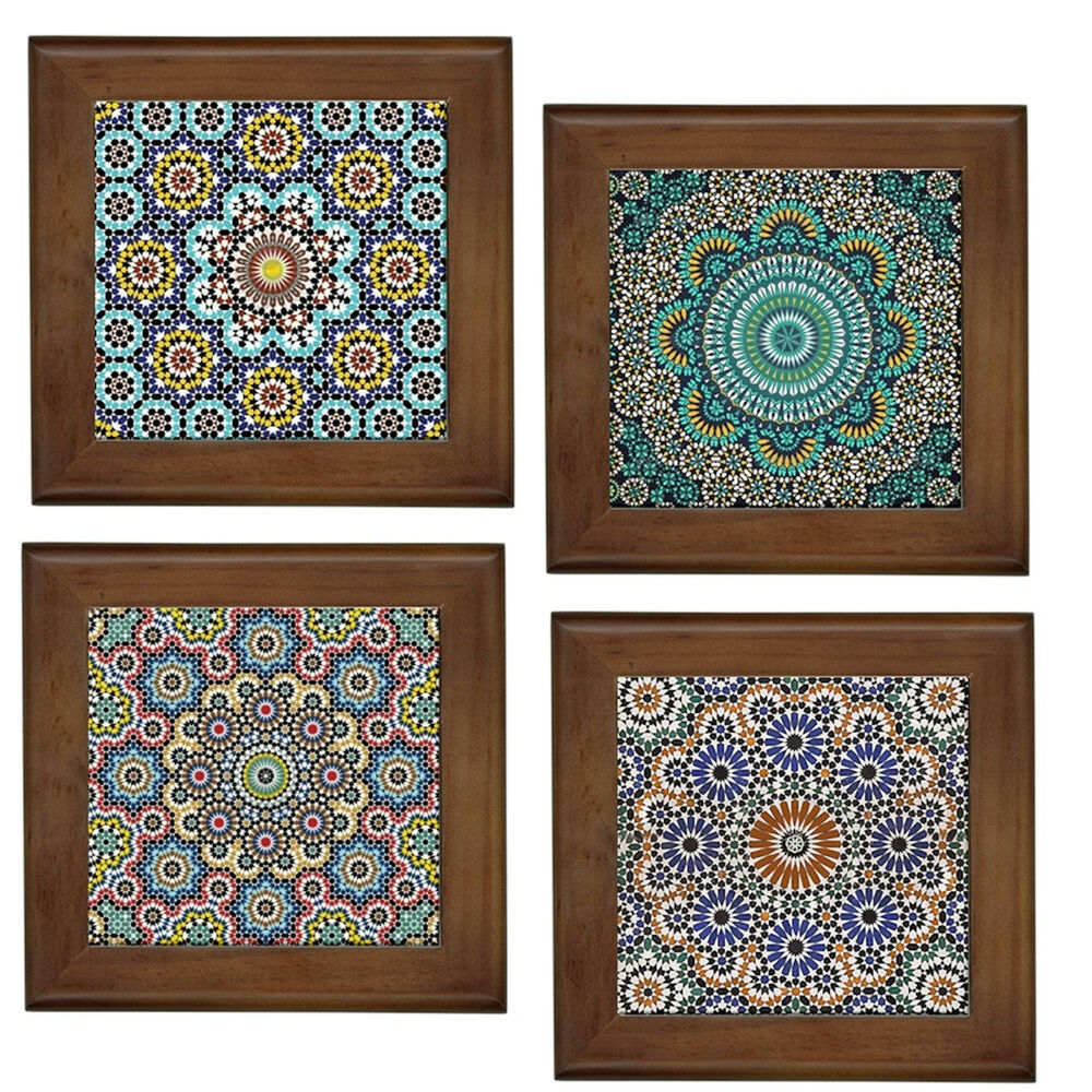 Decorative Wall Tile Art : Moroccan patterns home decorative ceramic framed tile wall