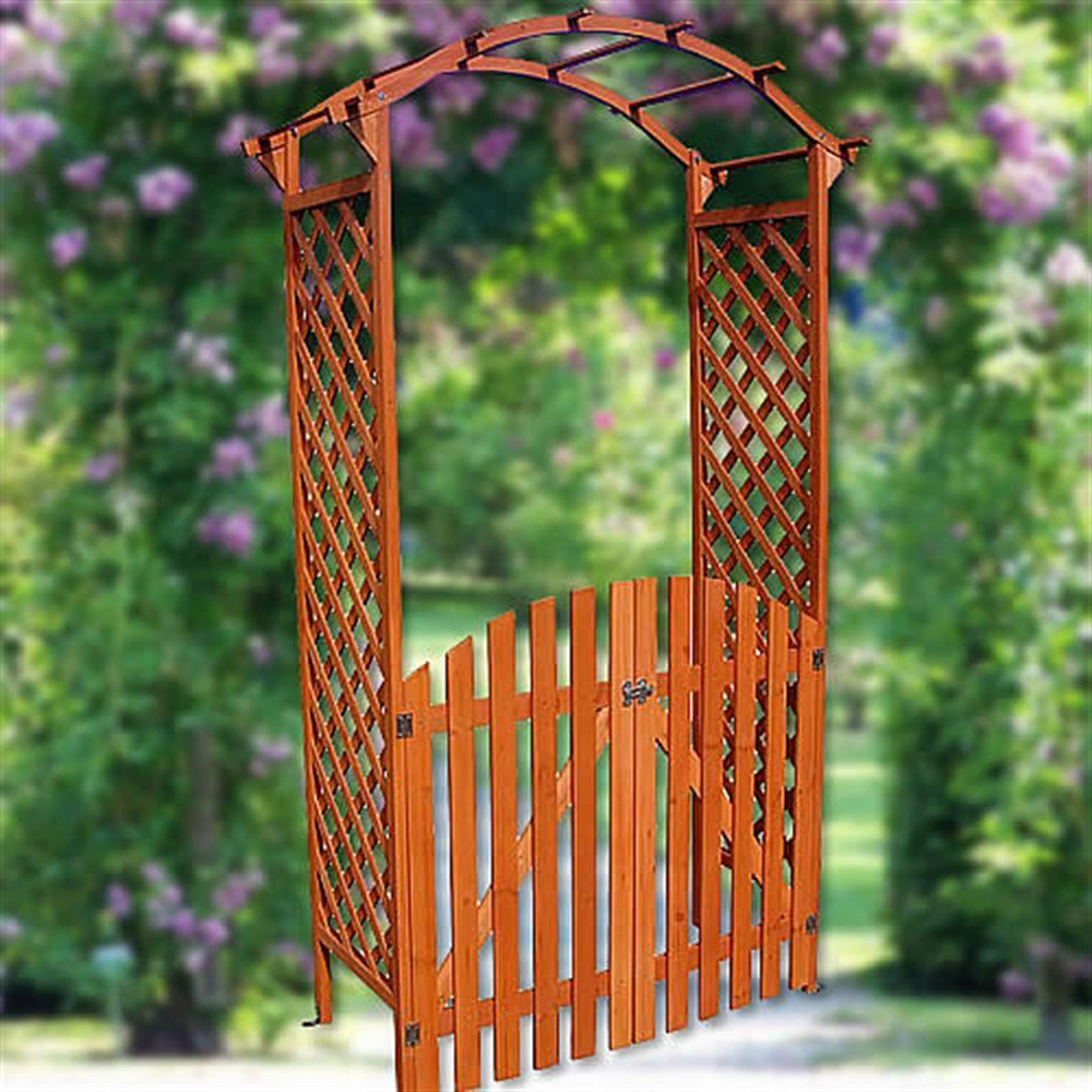 wooden rose arch with door gate pergola archway trellis flower pots ebay. Black Bedroom Furniture Sets. Home Design Ideas