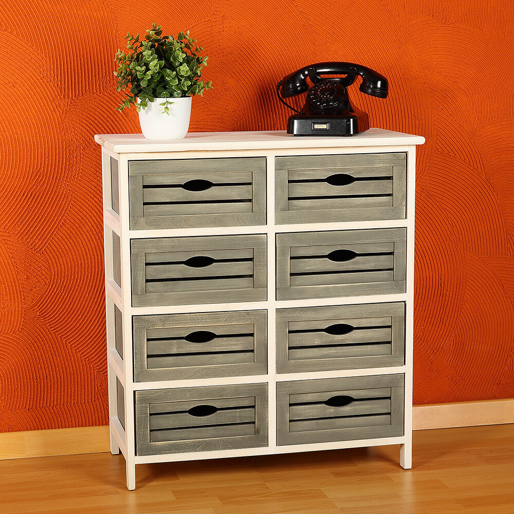 dresser shabby chic grey white with 8 drawers wooden rack. Black Bedroom Furniture Sets. Home Design Ideas