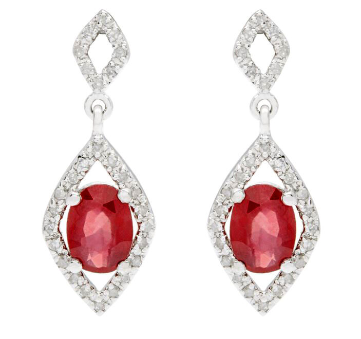 10k white gold oval genuine ruby and diamond. Black Bedroom Furniture Sets. Home Design Ideas