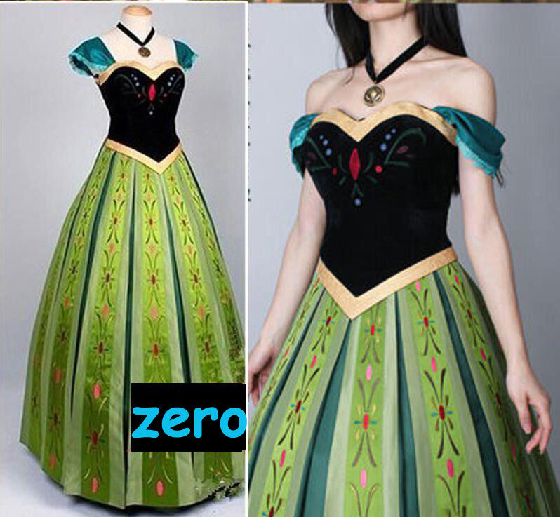 Movie Frozen Anna Coronation Embroidery Women Halloween