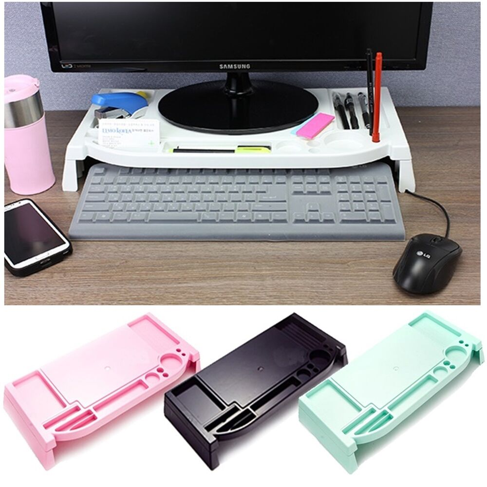 Monitor Stand Led Lcd Cradle Desk Organizer Office