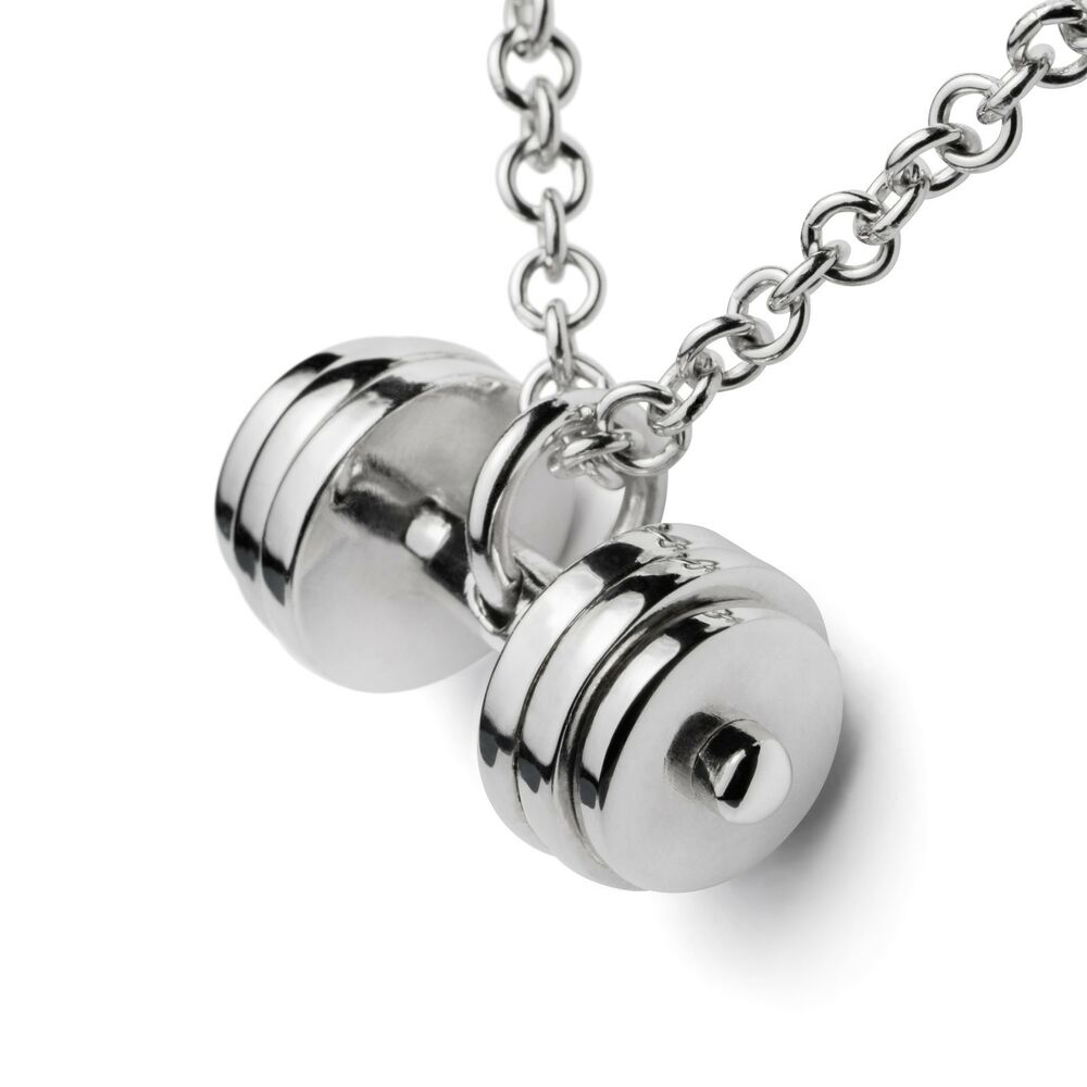 Dumbbell Necklace Barbell Weight Pendant Silver 925 Charm