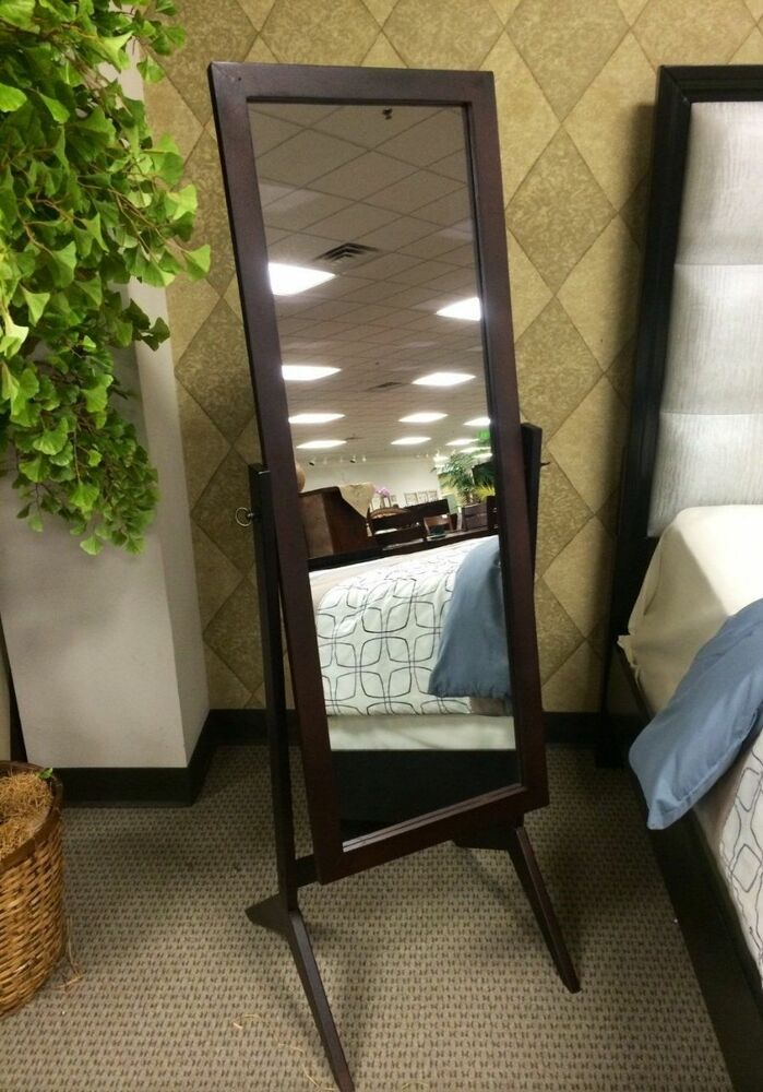 Rectangular Full Length Mirror Floor Swivel Espresso Wood
