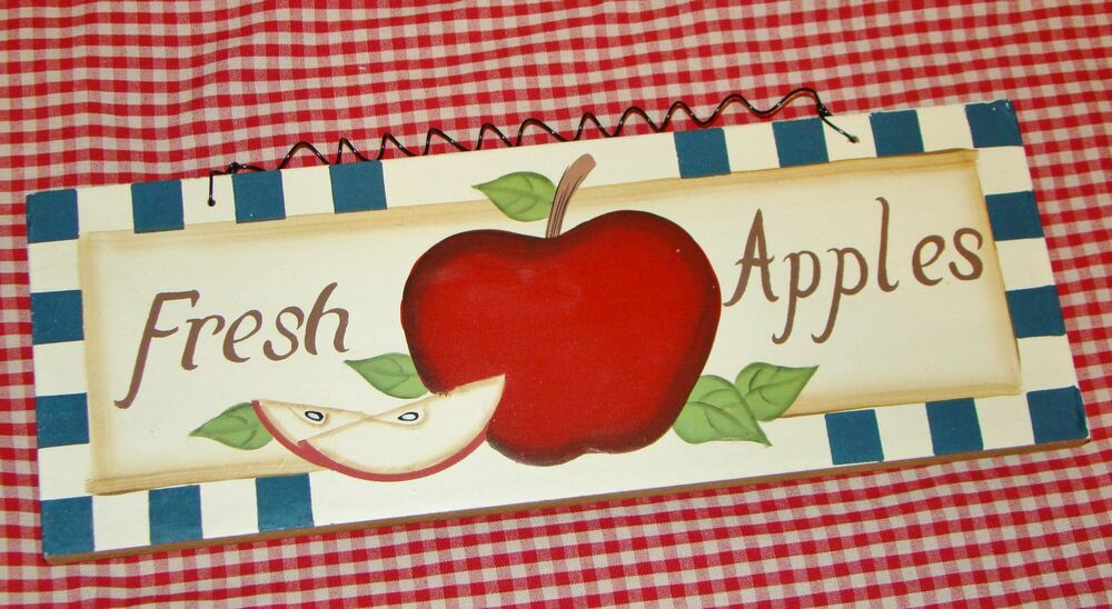 Rustic country wood sign fresh apples 39 home decor apple for Apples decoration for home