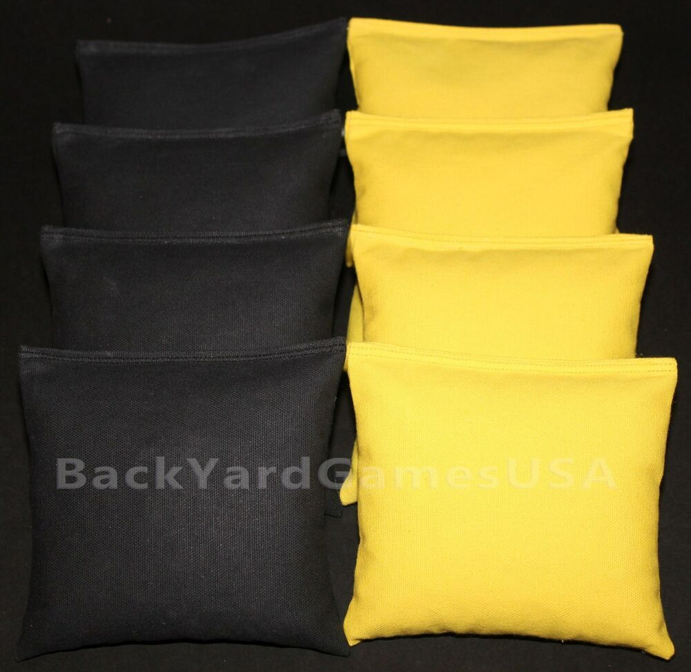 cornhole bean bags black lite yellow 8 all weather resin filled ebay. Black Bedroom Furniture Sets. Home Design Ideas