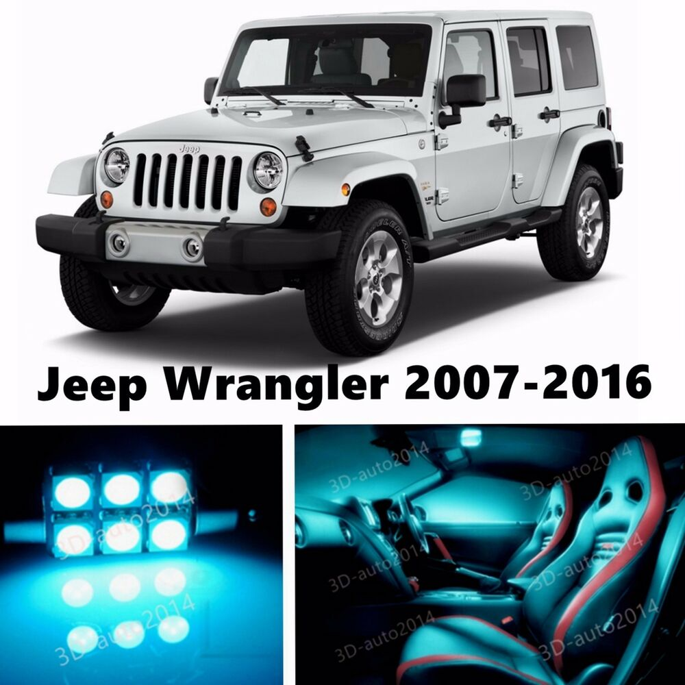 10pcs Led Ice Blue Light Interior Package Kit For Jeep Wrangler 2007 2016 Ebay