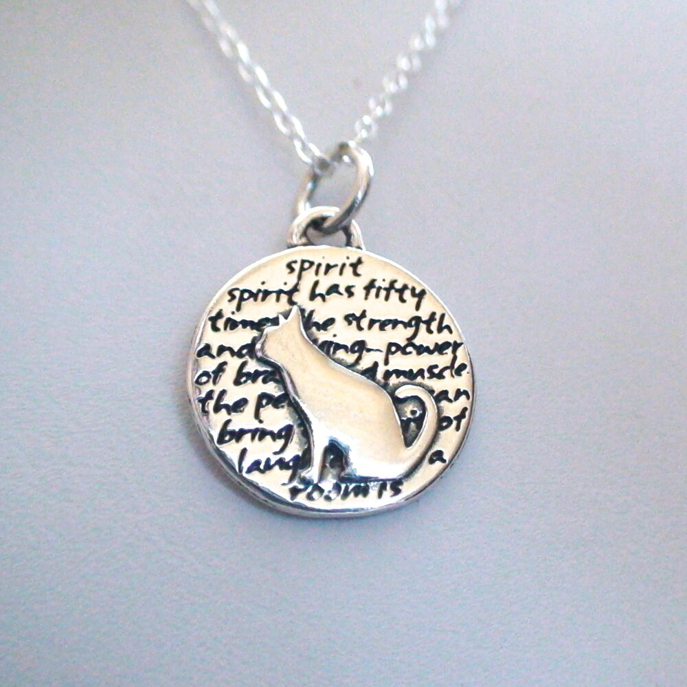 Cat Charm Necklace - 950 Sterling Silver
