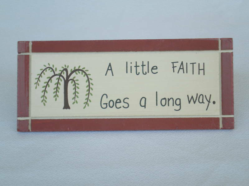 new shelf desk sign a little faith goes a long way ebay. Black Bedroom Furniture Sets. Home Design Ideas