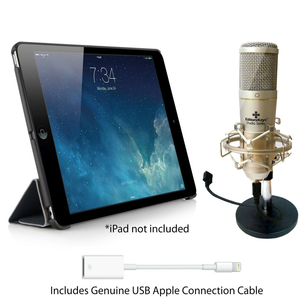 ipad recording kit includes usb microphone cables stands ipad pro air 1 2 ebay. Black Bedroom Furniture Sets. Home Design Ideas