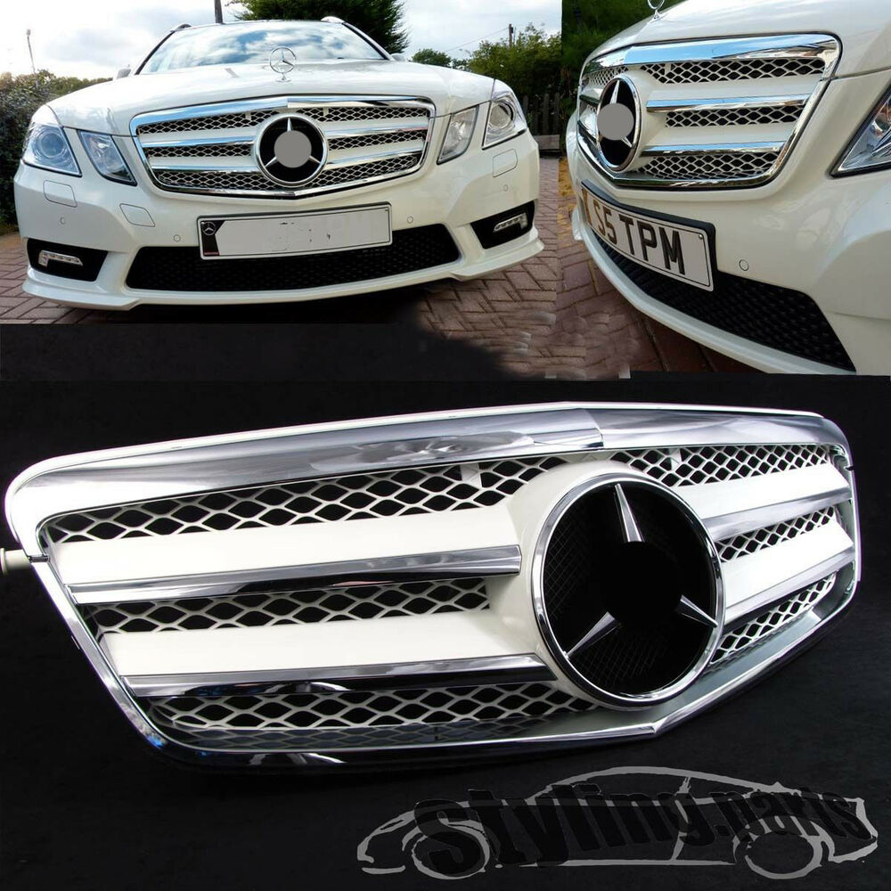 k hlergrill chrom weiss grill im c207 style f r mercedes. Black Bedroom Furniture Sets. Home Design Ideas