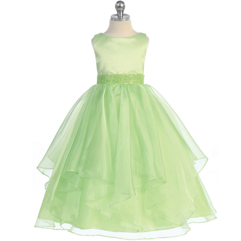 Lime green flower girl dresses wedding bridesmaid formal for Ebay wedding bridesmaid dresses