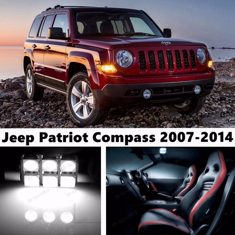 9x LED Xenon White Light Interior Package Kit For Jeep