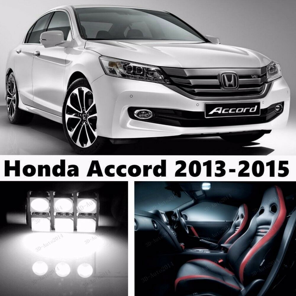 15pcs led xenon white light interior package kit for honda - 2015 honda accord interior illumination ...