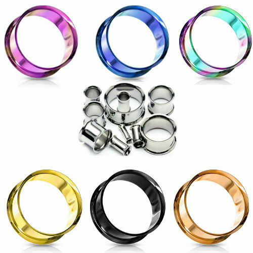 EAR GAUGES EAR FLESH TUNNELS STAINLESS STEEL EYELETS-EAR PLUGS-FLESH-PAIR