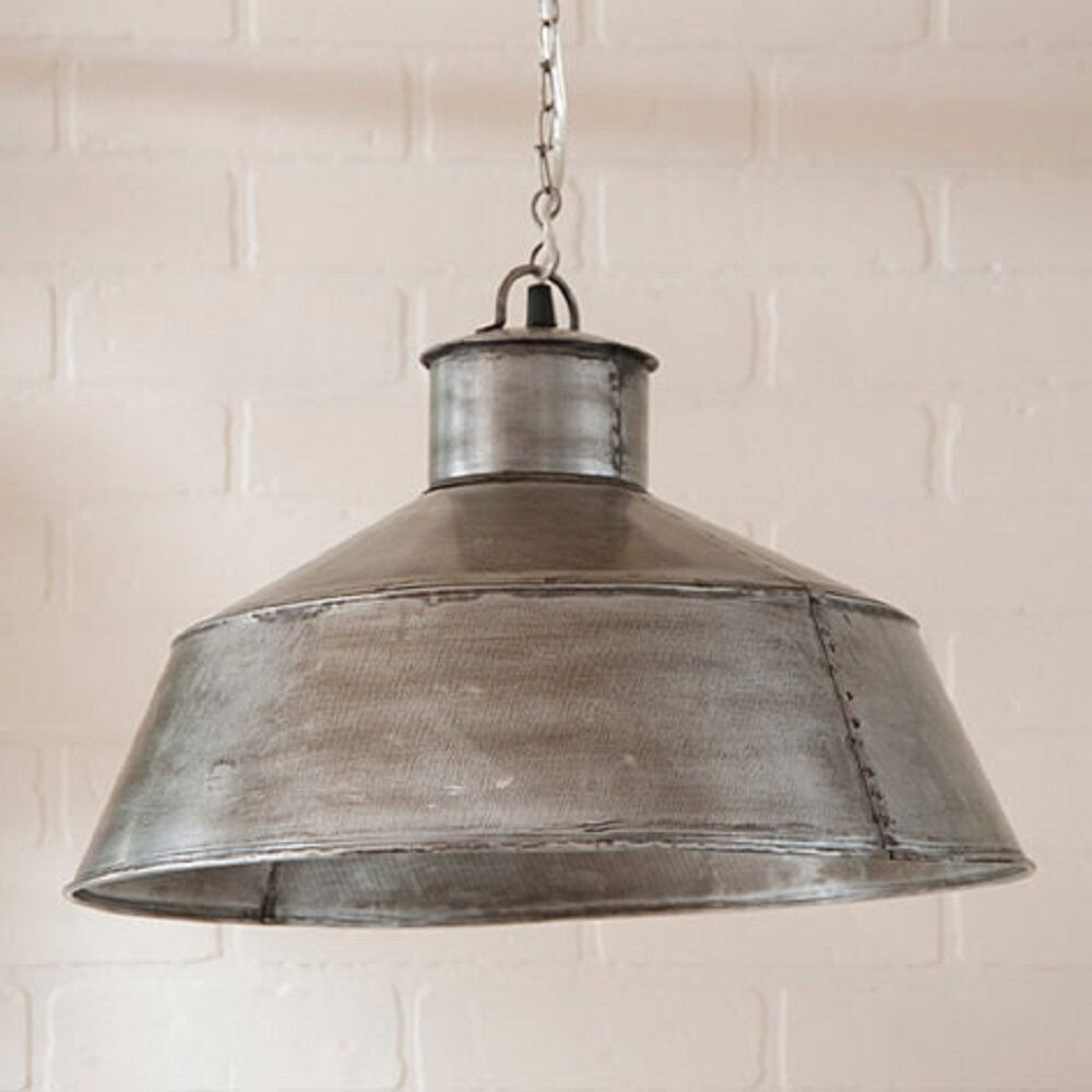 Large springhouse pendant light in antique polished tin for Antique pendant light fixtures