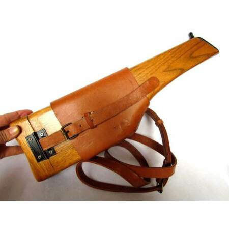img-WWII WW2 German Mauser Broomhandle Leather Holster And Stock - GM020