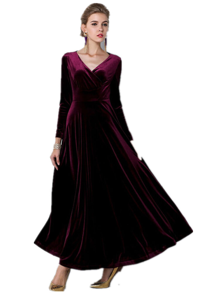 All size Velvet Ruffle Long Sleeve Evening Party Ball Gown ...