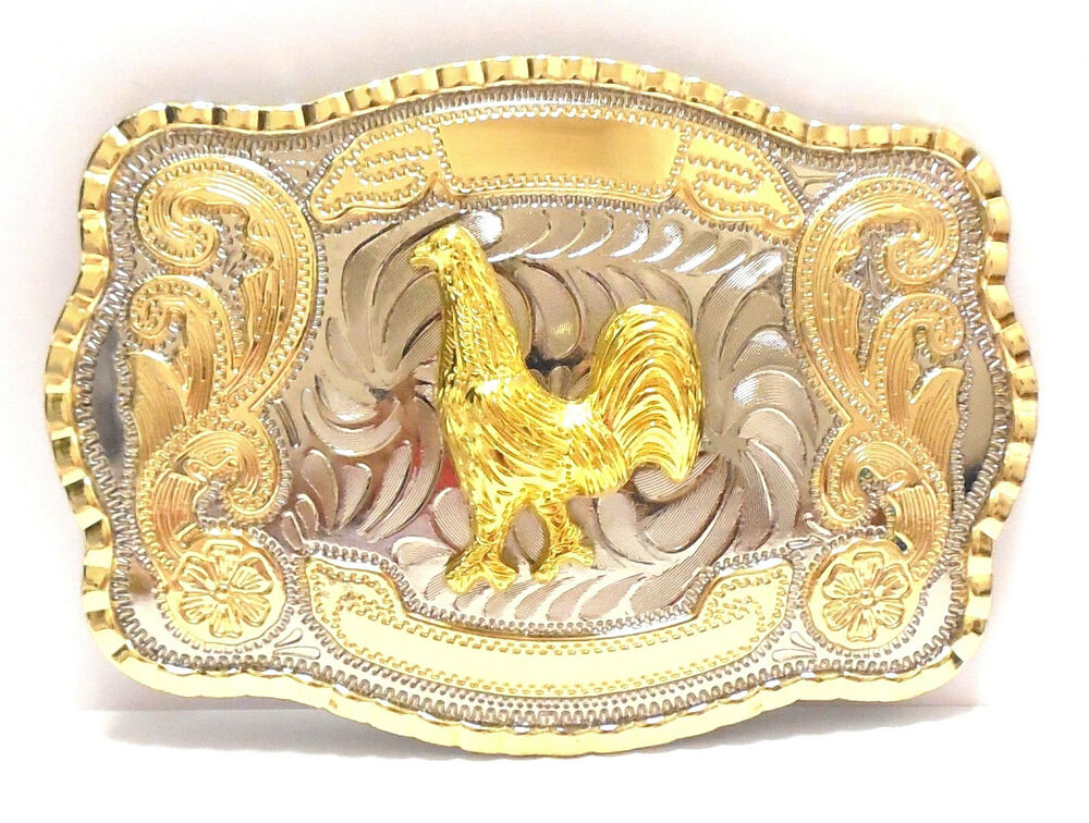 Rooster Western Style Cowboy Rodeo Gold Large Belt Buckle